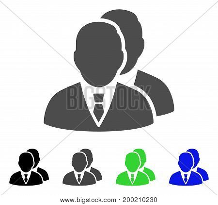 Managers flat vector pictograph. Colored managers, gray, black, blue, green icon variants. Flat icon style for graphic design.