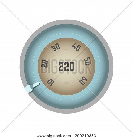 Round speedometer with pointer that moves and numbers placed in circle that equals to Internet connection speed level with maximum index 220 isolated cartoon vector illustration on white background.