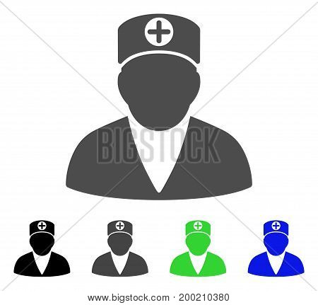 Medic Person flat vector icon. Colored medic person, gray, black, blue, green icon variants. Flat icon style for graphic design.