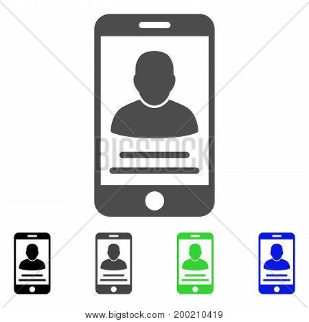 Mobile Account flat vector pictograph. Colored mobile account, gray, black, blue, green icon versions. Flat icon style for graphic design.