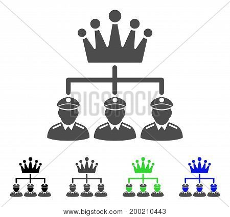 Monarchy Structure flat vector pictogram. Colored monarchy structure, gray, black, blue, green icon versions. Flat icon style for graphic design.
