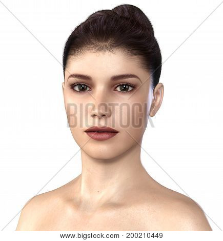 Amazing realistic 3D render beautiful face of a young woman with a clean fresh skin tone.