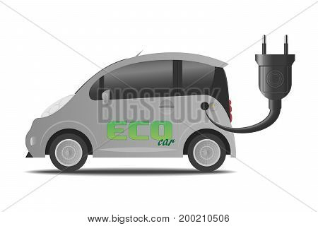 Illustration of a Ecological Electric Car Isolated