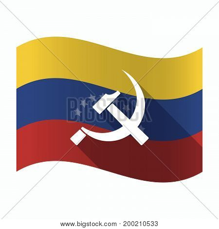 Isolated Venezuela Flag With  The Communist Symbol