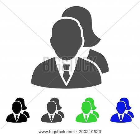 People flat vector pictograph. Colored people, gray, black, blue, green icon variants. Flat icon style for application design.
