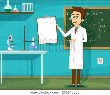 Man in white lab coat standing with clipboard in hand. Chemical laboratory. Stock vector cartoon illustration.