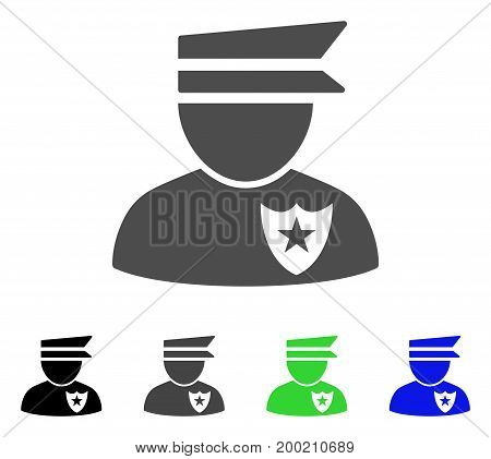 Policeman flat vector pictograph. Colored policeman, gray, black, blue, green icon variants. Flat icon style for web design.
