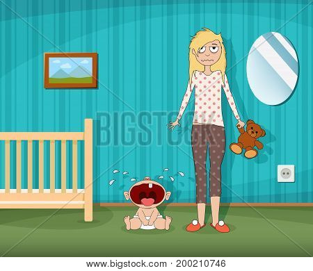 Woman is standing next to a crying child. Childrens room with a cot. Fatigue and depression of the parent. Stock vector cartoon graphic.