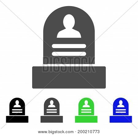Rip Monument flat vector icon. Colored rip monument, gray, black, blue, green pictogram versions. Flat icon style for graphic design.