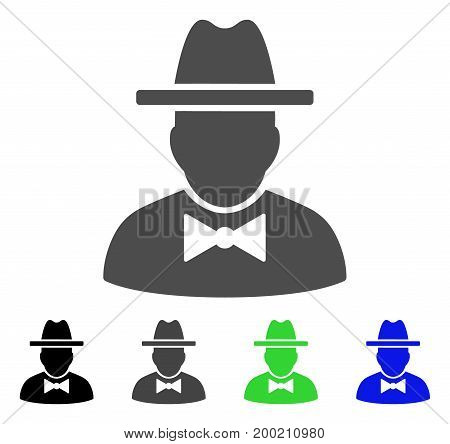 Spy flat vector pictogram. Colored spy, gray, black, blue, green pictogram versions. Flat icon style for web design.