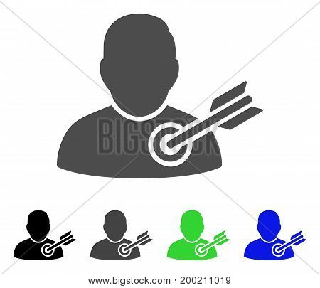 Target User flat vector pictograph. Colored target user, gray, black, blue, green icon versions. Flat icon style for web design.