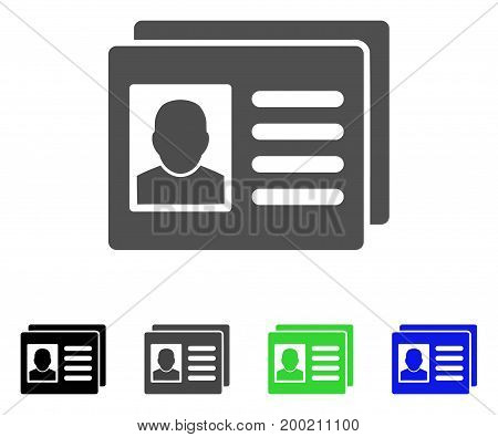 User Account Cards flat vector pictograph. Colored user account cards, gray, black, blue, green pictogram versions. Flat icon style for graphic design.