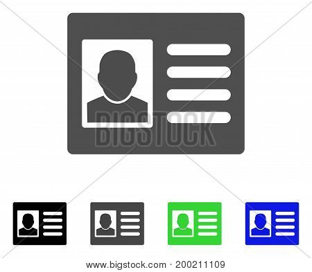 User Account flat vector pictogram. Colored user account, gray, black, blue, green pictogram versions. Flat icon style for graphic design.
