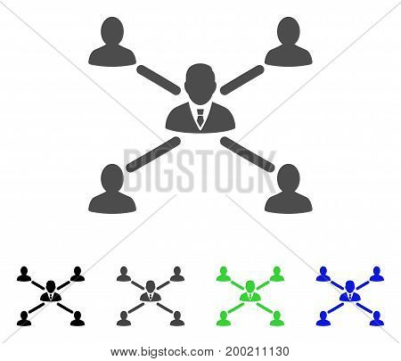 User Connections flat vector pictogram. Colored user connections, gray, black, blue, green icon variants. Flat icon style for graphic design.