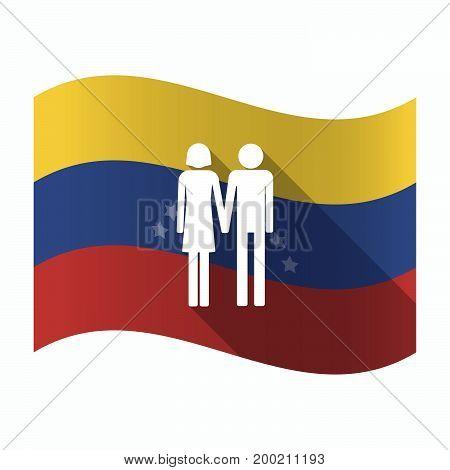 Isolated Venezuela Flag With A Heterosexual Couple Pictogram