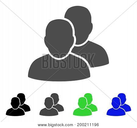 Users flat vector icon. Colored users, gray, black, blue, green icon variants. Flat icon style for graphic design.