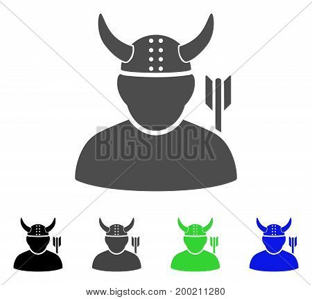 Warrior flat vector pictogram. Colored warrior, gray, black, blue, green pictogram variants. Flat icon style for application design.