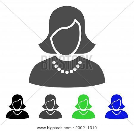 Woman flat vector illustration. Colored woman, gray, black, blue, green pictogram variants. Flat icon style for web design.