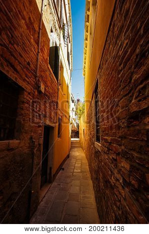 Old and narrow streets of Venice, Italy