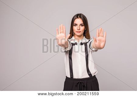 Closeup Portrait Young Annoyed Angry Woman With Bad Attitude Giving Talk To Hand Gesture With Palm O