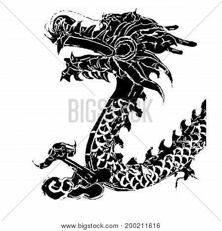 Chinese dragon. Isolated on a Black background. To use for collage and photomontage.