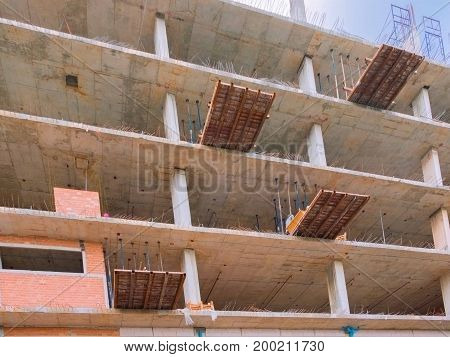construction in building high site workplace with copy space add text