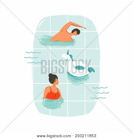 Hand drawn vector abstract cartoon summer time fun swimming people couple illustrations with unicorn buoy ring isolated on blue ocean waves.