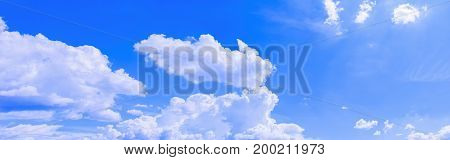 panoramic sky and cloud in summer time with formation storm beautiful art nature background