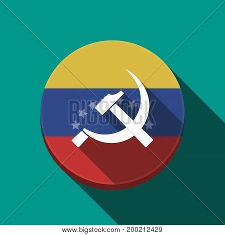 Long Shadow Venezuela Button With  The Communist Symbol