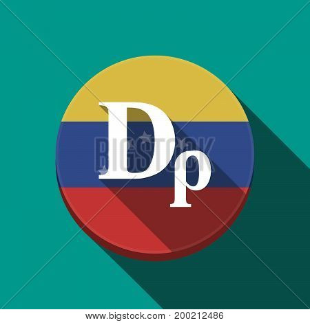 Long Shadow Venezuela Button With A Drachma Currency Sign