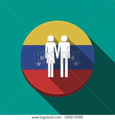 Long Shadow Venezuela Button With A Heterosexual Couple Pictogram