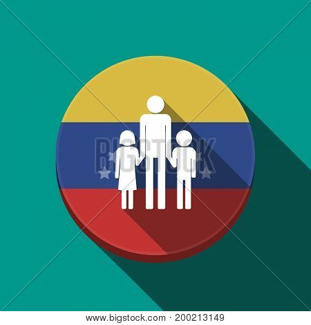 Long Shadow Venezuela Button With A Male Single Parent Family Pictogram