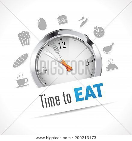 Stopwatch - Time for lunch - stock illustration