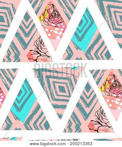 Hand drawn vector abstract freehand textured seamless pattern collage with zebra motif, organic textures, triangles and flowers isolated on white background.