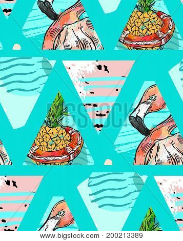 Hand made Exotic seamless pattern with tropical leaves, pineapple and pink flamingo on abstract geometric isolated on triangular background. Vector fabric, wrapping etc. print.