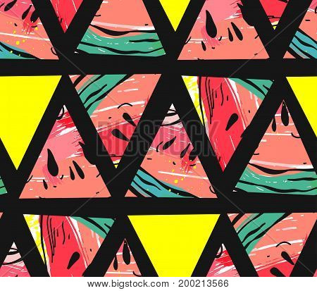 Hand drawn vector abstract collage seamless pattern with watermelon motif and triangle hipster shapes isolated on black background.