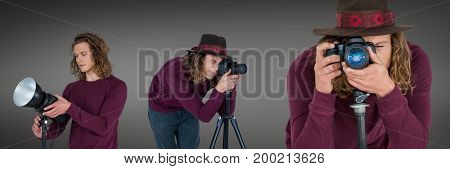 Digital composite of Photographer using the camera collage against grey background