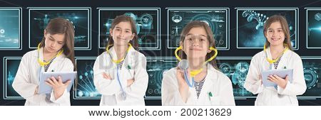 Digital composite of Doctor girl collage against medical interfaces