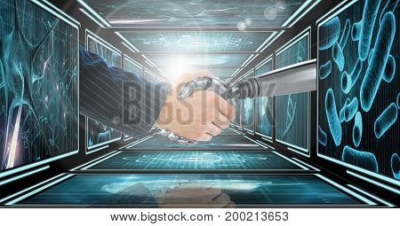 Digital composite of Businessman arm shaking hands with 3D robot arm in 3D corridor