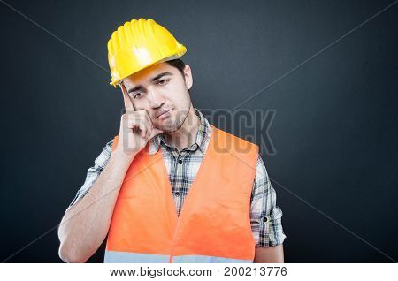 Portrait Of Constructor Posing Like Thinking