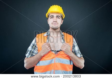 Handsome Constructor Showing His Chest Like Superhero
