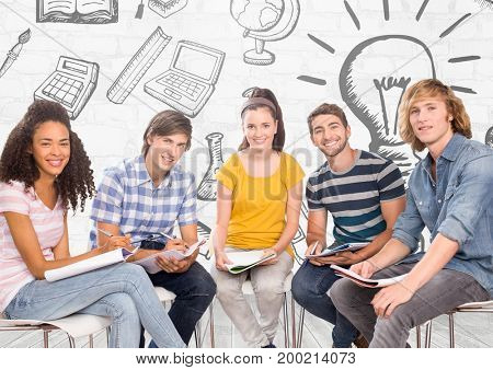 Digital composite of Group of students sitting in front of education learning graphics