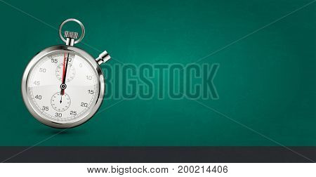 Last minute concept - stopwatch on green background - stock illustration