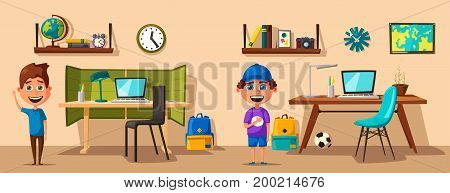 Schoolboy learns lessons at home. Cartoon vector illustration. Comfortable place. Creative interior. Room of child
