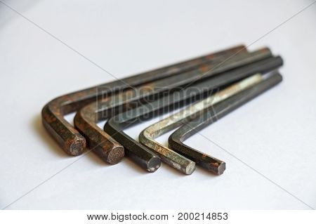 Close up set of old hexagon allen keys