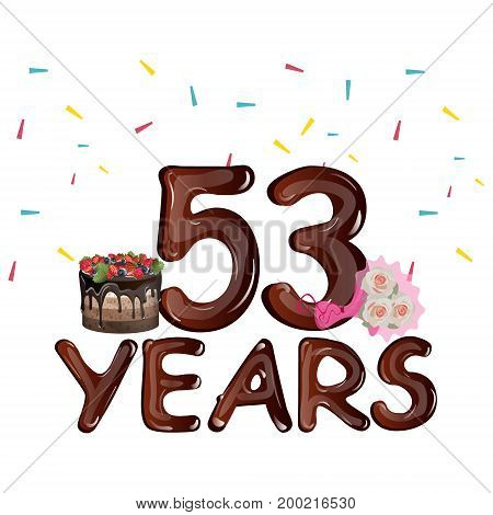 53 Years Birthday Design for greeting cards. Vector illustration