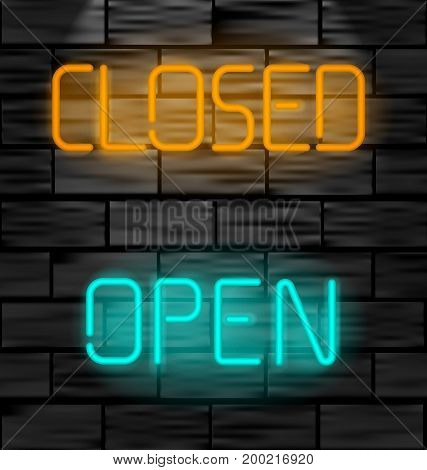 Open and closed neon inscription. Light sign on black brick wall background. Vector illustration