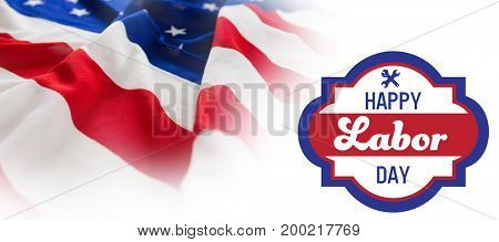 Digital composite image of happy labor day banner against full frame of wrinkled american flag