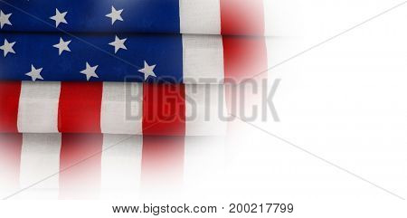 High angle full frame of folded American flag