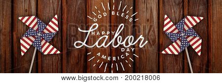 Composite image of happy labor day and god bless America text against wood panelling